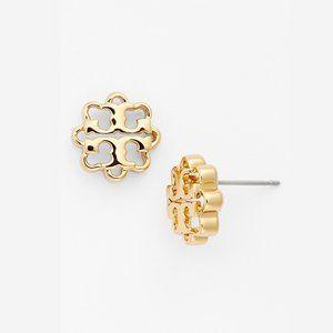 Tory Burch Logo Flower Stud Earrings Gold